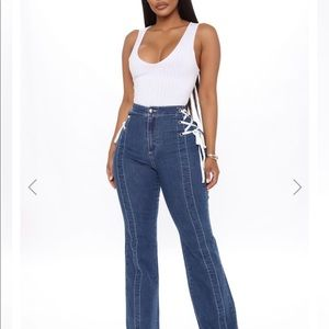 lace up high waisted flare jeans